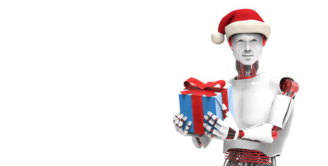 Robot with gift and christmas gift