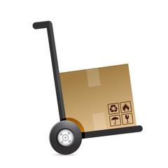 cardboard box on a dolly. illustration