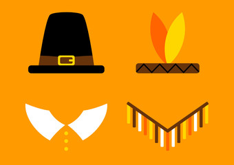 Thanksgiving Abstract Pilgrim/Native American