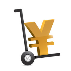 yen symbol on a dolly. illustration