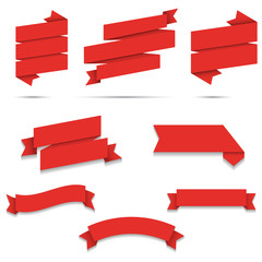 Red Paper origami Web Ribbons set