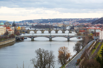 View of the bridges on cold spring or autumn day, Prague, the Cz