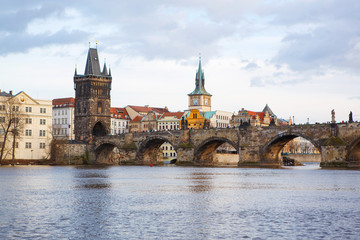 Panorama on Charles Bridge in Prague in the eveining