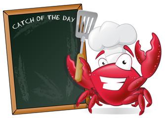 Cute Chef Crab with Spatula and Menu Board.