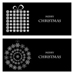 Set of Christmas and New Year banners with snowflakes and a box