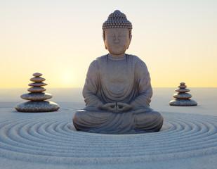 Abendstimmung mit Buddha-Statue