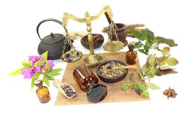 chinesische Medizin mit Pflanzen und Mörser