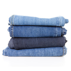 Pile of blue jeans