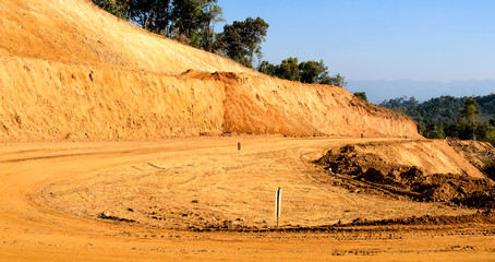 Laterite Non-Asphalt Road Under Construction