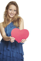 Portrait holding valentine heart, portrait