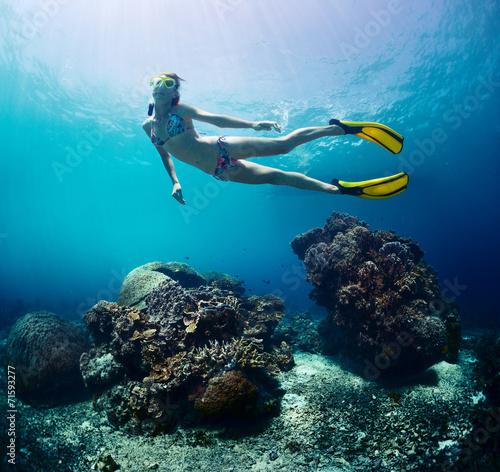 Leinwanddruck Bild Free diver
