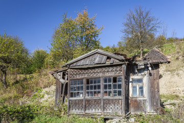 Old, ruined wooden house