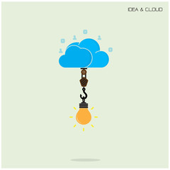 Flat cloud technology computing and creative bulb idea concept.