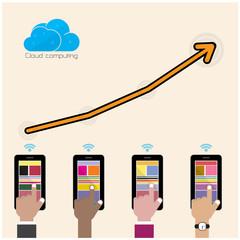 Flat cloud technology computing background concept. Data storage