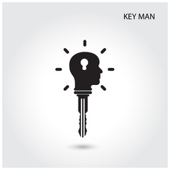 Creative silhouette head idea concept with key symbol