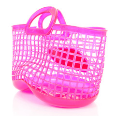 pink plastic shopping bag with holes