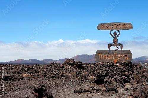 Leinwanddruck Bild Devil sign of entrance Timanfaya National Park in Lanzarote