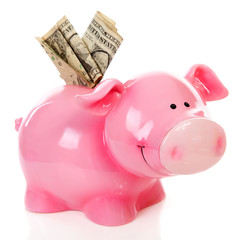 Pink piggy bank and dollar money