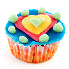 cupcake with marzipan heart decoration