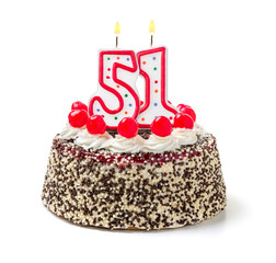 Geburtstagstorte mit brennender Kerze Nummer 51