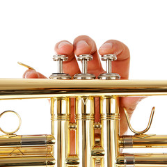 Close-up view of man's fingers as he plays trumpet