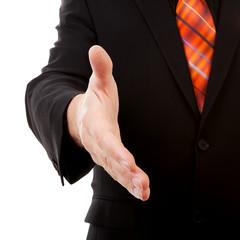 Businessman handshake in closeup