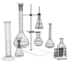Test tubes and flasks. Wire-frame render