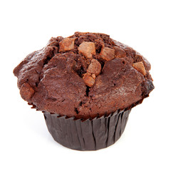 One brown chocolate muffin over white background