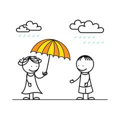 Girl gives an umbrella to her boyfriend