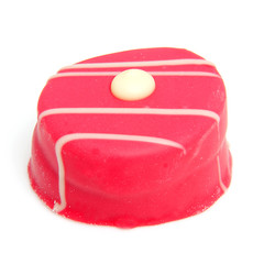 one pink petit four