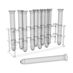 Test tubes. Wire-frame render