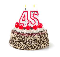 Geburtstagstorte mit brennender Kerze Nummer 45
