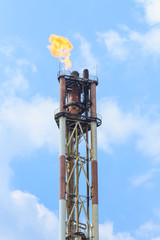 oil refining on blue sky