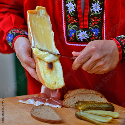 Leinwanddruck Bild Raclette
