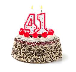 Geburtstagstorte mit brennender Kerze Nummer 41