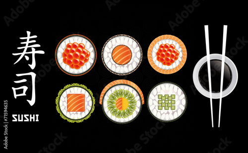 Fototapeta Sushi Pieces Collection