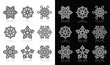 Snowflakes, winter black and white icons set