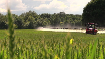 Tractor spray fertilize field with chemicals for crop protection