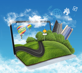 illustration of laptop with meadow, road and skyscrapers.
