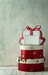 Vintage Christmas Gifts; stacked