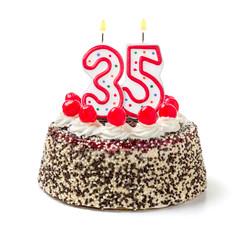 Geburtstagstorte mit brennender Kerze Nummer 35