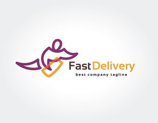 Abstract vector delivery man logo icon concept. Logotype