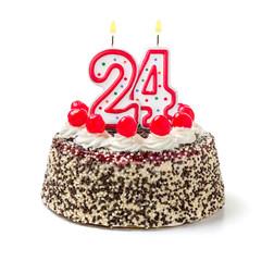 Geburtstagstorte mit brennender Kerze Nummer 24