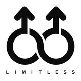 Double male Limitless symbol, vector poster