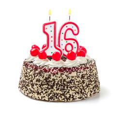 Geburtstagstorte mit brennender Kerze Nummer 16
