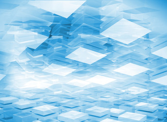 Abstract 3d digital background with light blue boxes
