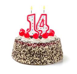 Geburtstagstorte mit brennender Kerze Nummer 14