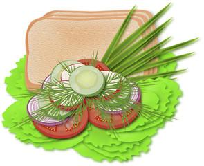 овощи  с хлебом