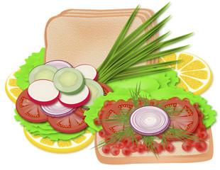 хлеб с икрой и овощами