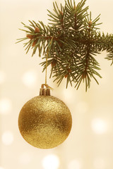 Christmas Tree with Gold Christmas Ball